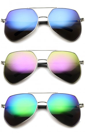 Modern Hexagonal Geometric Metal Crossbar Mirror Lens Aviator Sunglasses 60mm