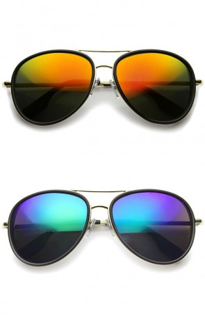 Retro Matte Side Cover Flat Lens Metal Crossbar Mirrored Lens Aviator Sunglasses 60mm