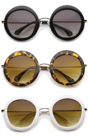 Goemetric Hexagonal Lens Round Metal Accented Oversized Sunglasses 56mm