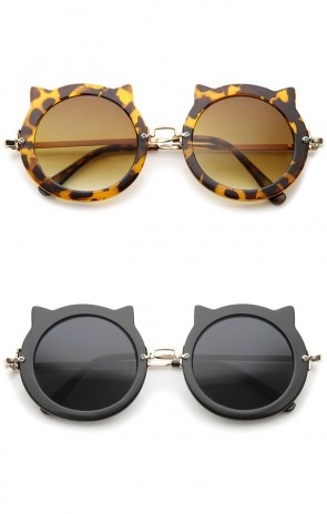 Women's Spiked Frame Metal Temple Round Cat Eye Sunglasses 42mm