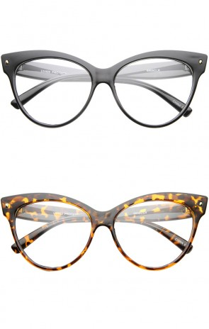 Womens Bold High Point Clear Lens Oversize Cat Eye Glasses 63mm