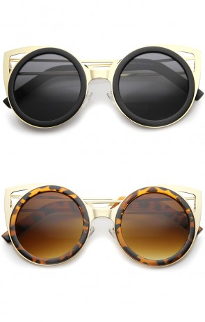 Womens Two-Toned Metal Cutout Round Cat Eye Sunglasses 50mm