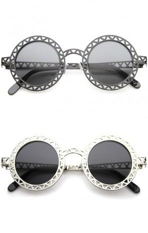 Retro Metal Cutout Frame Laser Cut Round Sunglasses 44mm