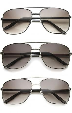 Oversize Metal Frame Browbar Gradient Lens Aviator Sunglasses 62mm