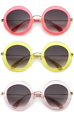 Retro Bold Penta Cut Gradient Lens Oversize Round Sunglasses 56mm