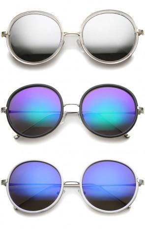 Retro Metal Temple Color Mirror Lens Oversize Round Sunglasses 53mm