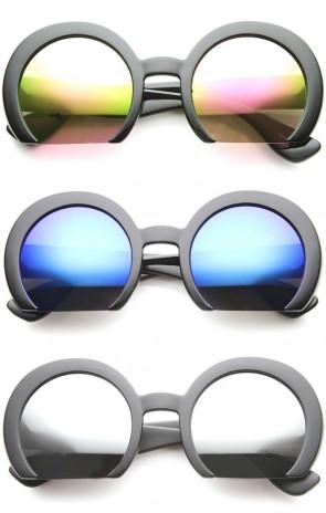 Women's Oversize Semi-Rimless Flat Bottom Mirror Lens Round Sunglasses 56mm