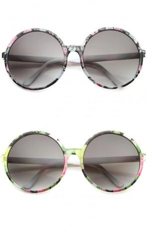 Women's Fashion Floral Print Gradient Lens Oversize Round Sunglasses 66mm