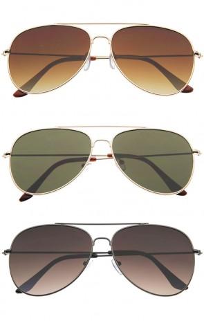 ClassicTeardrop Full Metal Frame Gradient Flat Lens Aviator Sunglasses 59mm