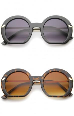 Women's High Fashion Flat Bottom Oversize Round Sunglasses 50mm