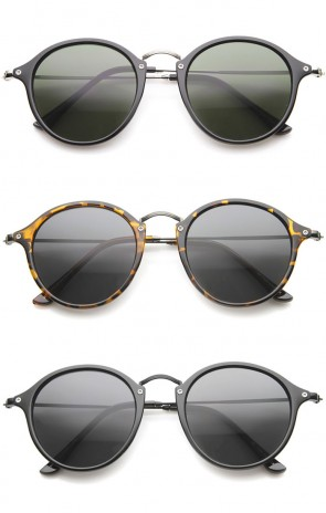 Iconic Classic Dapper Thin Metal Temple Tinted Lens Round Sunglasses 49mm