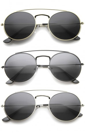 Retro Fashion Minimal Thin Metal Brow Bar Round Sunglasses 52mm