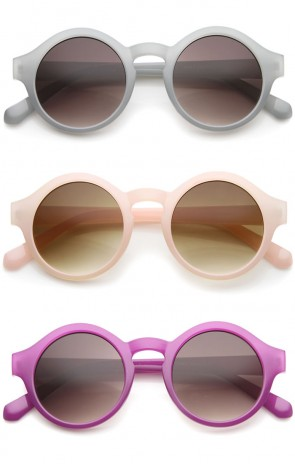Retro 70s Fashion Pastel Color Horn Rimmed Round Sunglasses 47mm