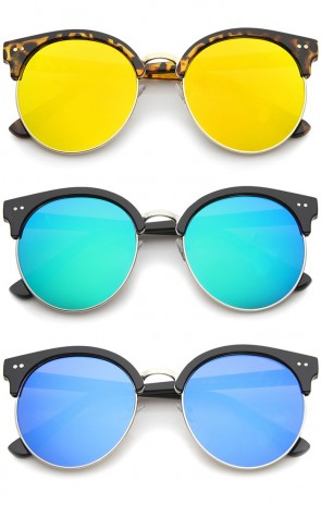 Womens Round Oversize Moon Cut Flash Mirror Flat Lens Half Frame Sunglasses
