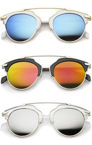 High Fashion Two-Toned Pantos Crossbar Color Mirror Lens Aviator Sunglasses 50mm