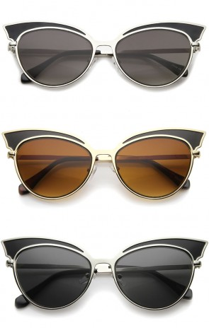 Womens Fashion Two-Tone Oversized Metal Cat Eye Sunglasses 57mm