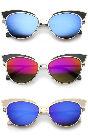 Womens Two-Tone Oversized Metal Mirrored Cat Eye Sunglasses 57mm