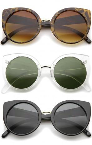 Women's High Fashion Oversize Round Lens Cat Eye Sunglasses 55mm