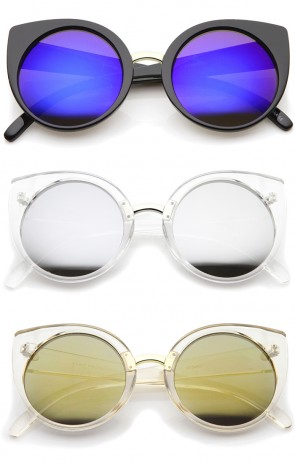 Women's Fashion Round Iridescent Mirror Lens Cat Eye Sunglasses 55mm