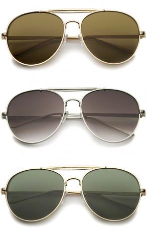 Modern Fashion Flat Lens Full Metal Side Cover Frame Double Bridged Aviator Sunglasses