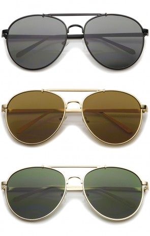 Large Metal Teardrop Double Bridge Flat Lens Aviator Sunglasses 60mm