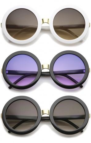 Womens Retro Bold Oversized Jackie O Round Sunglasses 56mm