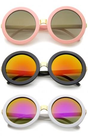 Womens Retro Bold Colored Mirror Oversized Round Sunglasses 56mm