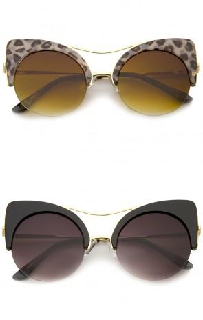 Women's Half-frame High Pointed Flat Lens Round Cat Eye Sunglasses 51mm