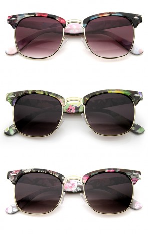 Women's Floral Printed Square Half Frame Horn Rimmed Sunglasses 50mm