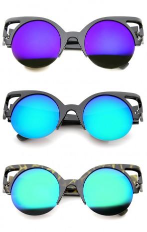 Women's Round Mirrored Lens Half Frame Cutout Cat Eye Sunglasses 50mm