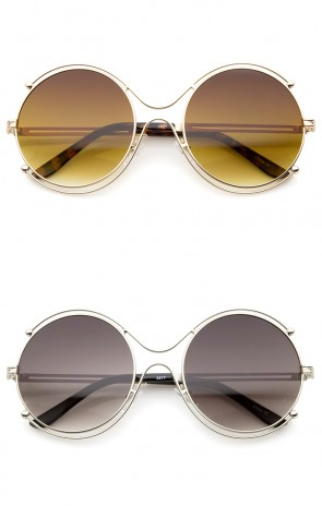 Women's Fashion Wire Rimmed Temple Cutout Round Oversized Sunglasses 58mm