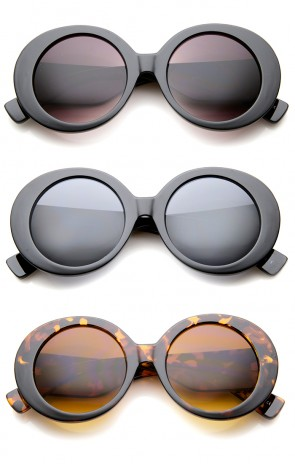 Womens High Fashion Glam Chunky Round Oversize Sunglasses 50mm