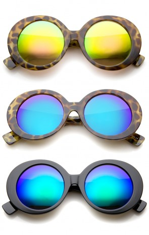 Womens High Fashion Chunky Colored Mirror Round Oversize Sunglasses 50mm