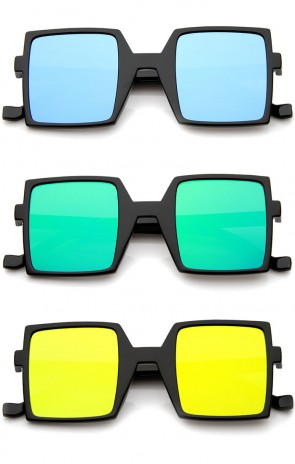 Retro Block Television Flash Mirrored Flat Lens Bold Square Sunglasses 47mm