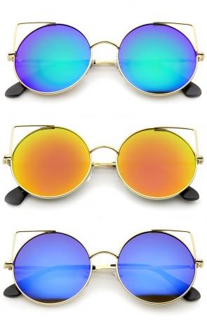 Women's Full Metal Cut Out Mirror Flat Lens Round Cat Eye Sunglasses 55mm