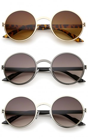 Lennon Style Modern Thin Metal Frame Cutout Detail Round Sunglasses 50mm