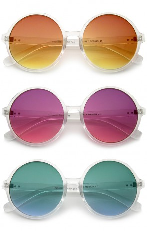 Retro Translucent Frame Colorful Gradient Lens Round Sunglasses 55mm