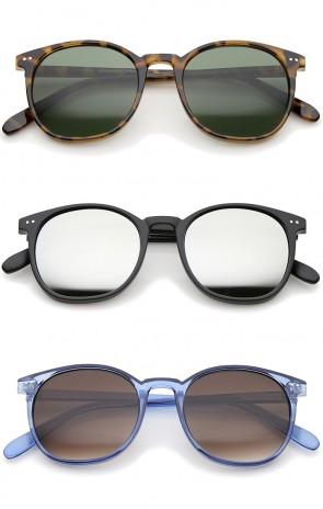 Classic Slim P3 Shape Frame Round Lens Horn Rimmed Sunglasses 50mm