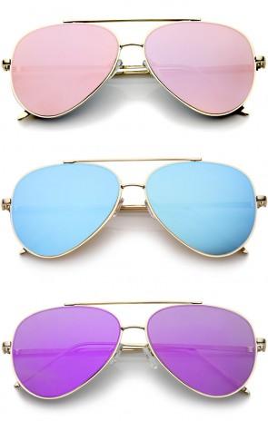 Mod Fashion Teardrop Rimless Mirror Flat Lens Metal Frame Aviator Sunglasses 58mm