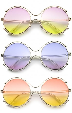 Women's Wire Rimmed Colorful Gradient Lens Round Oversized Sunglasses 58mm