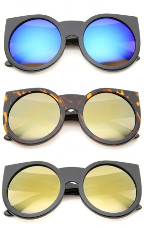Womens Thick Frame Color Mirror Lens Round Cat Eye Sunglasses 55mm
