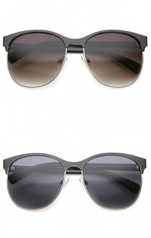 Women's Fashion Two Toned Tinted Lens Half-Frame Round Sunglasses 55mm