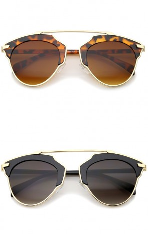 High Fashion Two-Toned Pantos Crossbar Tinted Lens Aviator Sunglasses 52mm