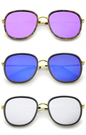 Modern Thin Metal Temples Iridescent Mirror Lens Square Sunglasses 55mm