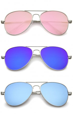 Small Full Metal Color Mirror Teardrop Flat Lens Aviator Sunglasses 56mm