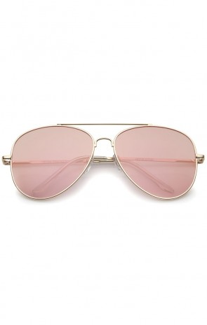 Large Metal Rose Gold Frame Pink Mirror Flat Lens Aviator Sunglasses 60mm