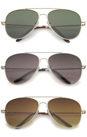 Large Classic Full Metal Teardrop Flat Lens Aviator Sunglasses 60mm
