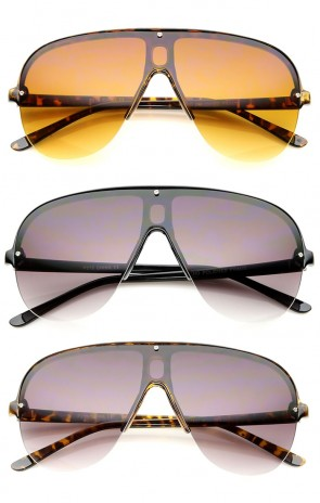 Oversize Flat Top Semi-Rimless Frame Shield Aviator Sunglasses 70mm