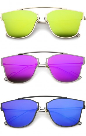 Modern Flash Mirror Lens Ultra Thin Open Metal Minimal Pantos Aviator Sunglasses 55mm