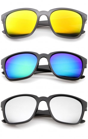 Modern Wide Temples Square Color Mirror Lens Horn Rimmed Sunglasses 56mm